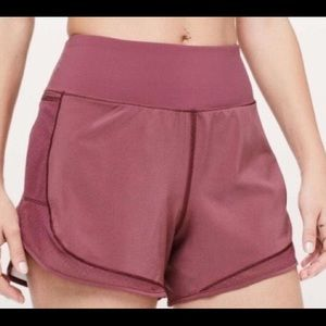 Lululemon Mauve Over and Above Train Shorts